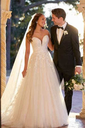 Taffeta and lace wedding dresses Stella York 7077