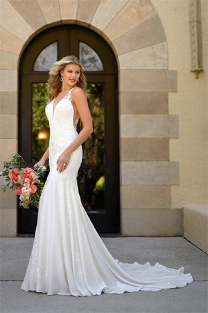 Taffeta and lace wedding dresses Stella York 7078
