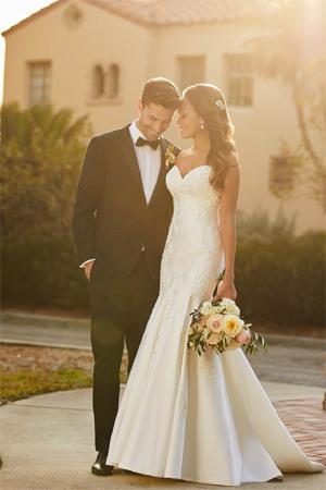 Taffeta and lace wedding dresses Stella York 7120 i