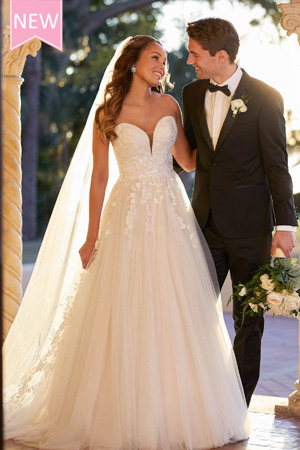 Taffeta and lace wedding dresses Stella York 7077