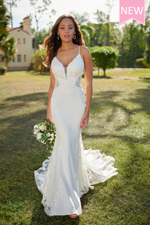 Taffeta and lace wedding dresses Stella York 7118