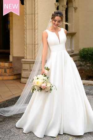 Taffeta and lace wedding dresses Stella York 7119