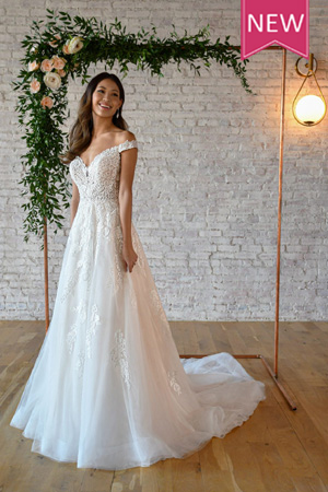 Taffeta and lace wedding gowns gloucester stella york 7316