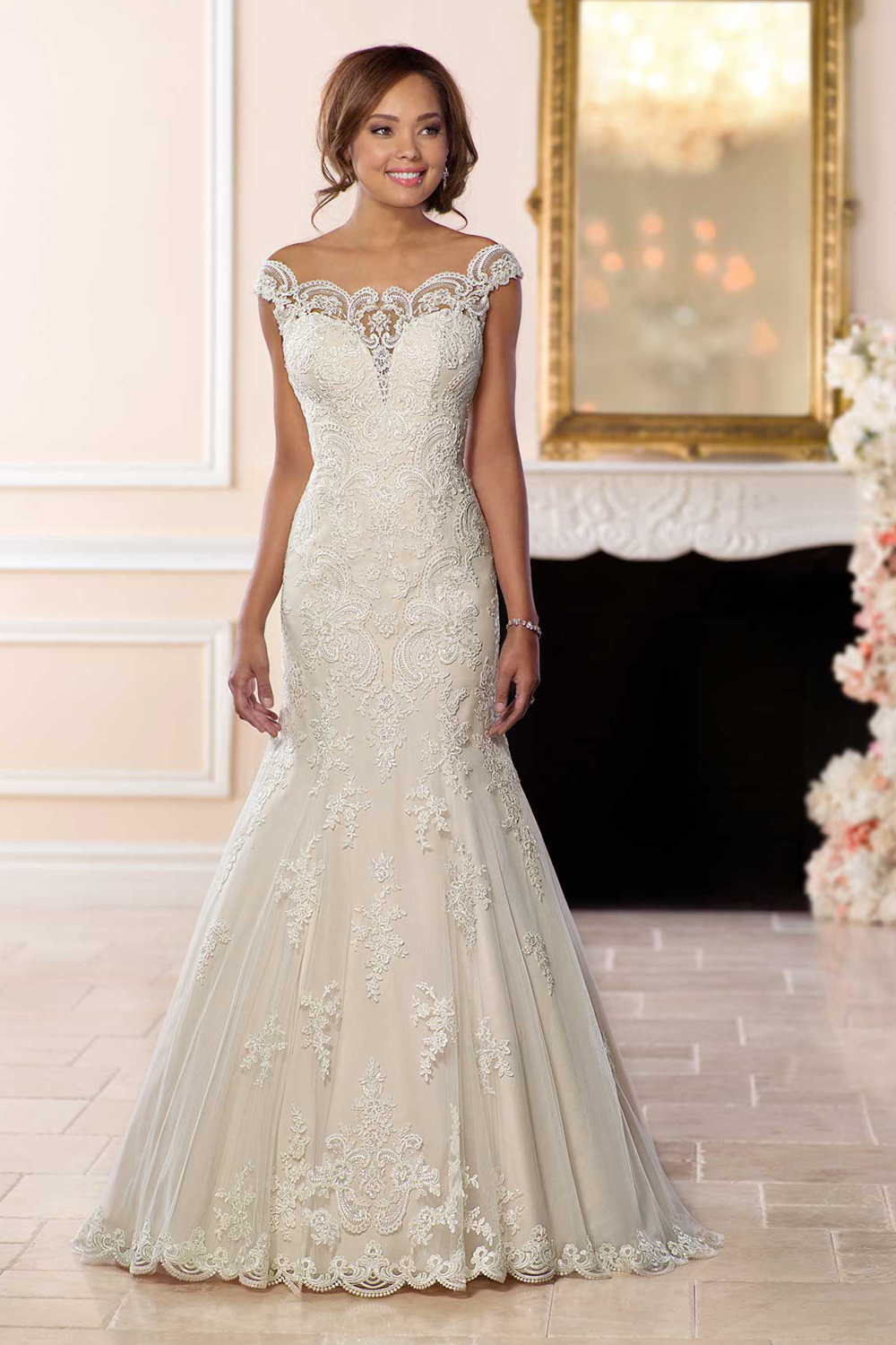 Stella York 6569 – Princess wedding dress with off the shoulder sleeves
