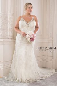 Taffeta and Lace wedding dresses Gloucester Sophia Tolli y21817-turquoise-plus