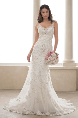 Taffeta and Lace wedding dresses Gloucester Sophia Tolli y21817-turquoise-front