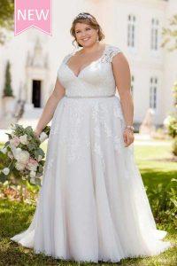 Taffeta and Lace wedding dresses - Stella-York-6391-romantic-lace-plus-size-wedding-dress-with-cameo-back/