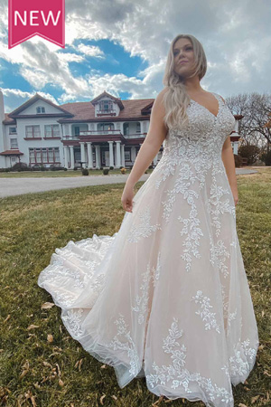 taffeta and lace wedding dresses gloucester plus size 7169+ front