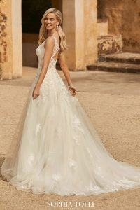 Taffeta and Lace Wedding Dresses Gloucester Chiara-Style-Y12035