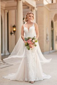 Taffeta and lace wedding dresses Stella York 6914-