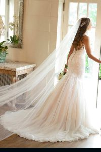 Taffeta and lace wedding dresses Stella York 6973
