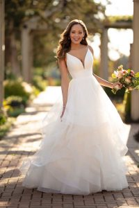 Taffeta and lace wedding dresses Stella York 6988-1