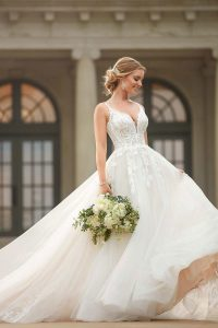 Taffeta and lace wedding dresses Stella York 6993-1