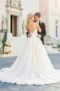Taffeta and lace wedding dresses Gloucester Stella York 6886