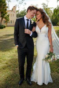 Taffeta and lace wedding dresses Stella York 7118