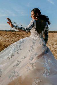 Taffeta and lace wedding dresses Gloucester 7169